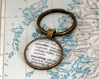 Traveller Key Ring, Dictionary Words, Key Chain, Travel Keyring, World Travel, Adventure Awaits, Travel Gift, Explorer, Globe Trotter