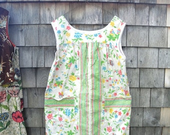 Vintage Gardeners Artists Work Smock with Pockets - Handmade from Cotton Decorator Fabric White Floral