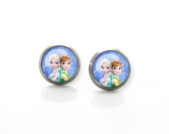 Pure Titanium Jewelry Earrings for sensitive ears Frozen Elsa Anna Girls Princess Hypoallergenic Studs | Titanium Jewelry Stud earrings
