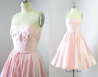 Vintage 1950's Pink & White Polka Dot Dress