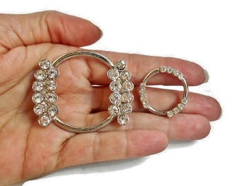 Vintage Rhinestone Belt Buckle Silver Loops For Craft Embellishment Jewelry Purse Making Set of 2 with Clear Stones