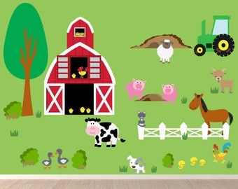 Farm Wall Decal, Kids Wall Decal, Barn Wall Decal, Farm Animals Decal, REUSABLE Fabric Kids Decals, WD32A