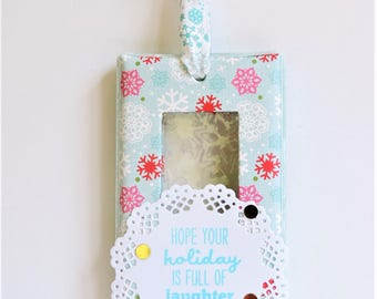 Ornament - Pink and Blue - Snowflake Print and Embossed - Hope Your Holidays Are Filled with Laughter and Love Tree Decoration