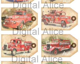 Custom Vintage FIRE TRUCK Tags - Instant Download Digital Printable Fire Engine Hang tags,cards  - DiY