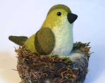 Unique needle felt bird and nest