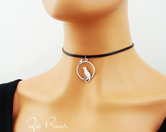 Silver cat and mouse choker. Silver choker necklace, cat, mouse choker. Elegant cat choker necklace. Black choker necklace.