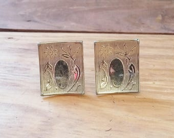 Vintage Cuff Links Curved Gold Rectangles Etched w Leaves & Flowers w Oval Blank for Engraving 50's 60's Mid Century Mens Fashion Jewelry