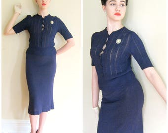Vintage 1930s Navy Blue Knit Sweater Skirt Ensemble / 30s Blue Two Piece Skirt and Top Set / Small