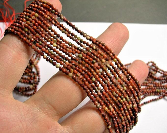 Red Jasper - 2mm(2.2mm) round beads - 1 full strand - matrix red jasper - 180 beads - PG29