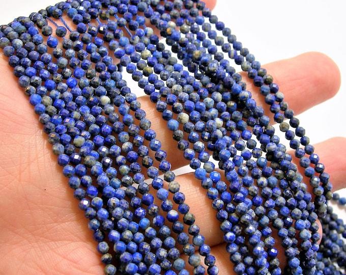 Lapis Lazuli - 3mm faceted round beads - full strand  132 beads - micro facted Lapis Lazuli  - PG92