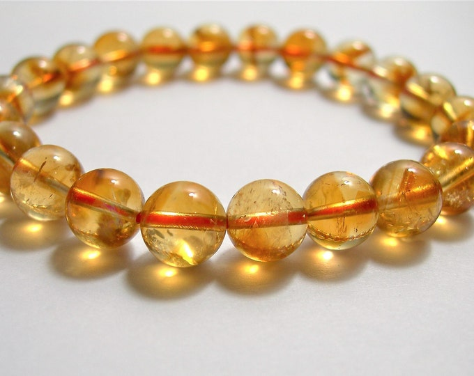 Citrine - 7.5mm - 9.5 mm round beads - choice your size - 20 to 24 beads - 1 set - Citrine - HSG93