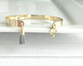 Tassel Cuff Bracelet - gold open oval stacking bangle - grey charm dangle trend - best friend girlfriend wife sister gifts for her under 25