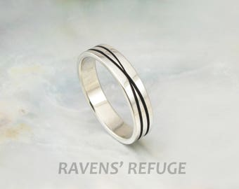 infinity ring -- recycled white gold wedding band -- unique wedding ring