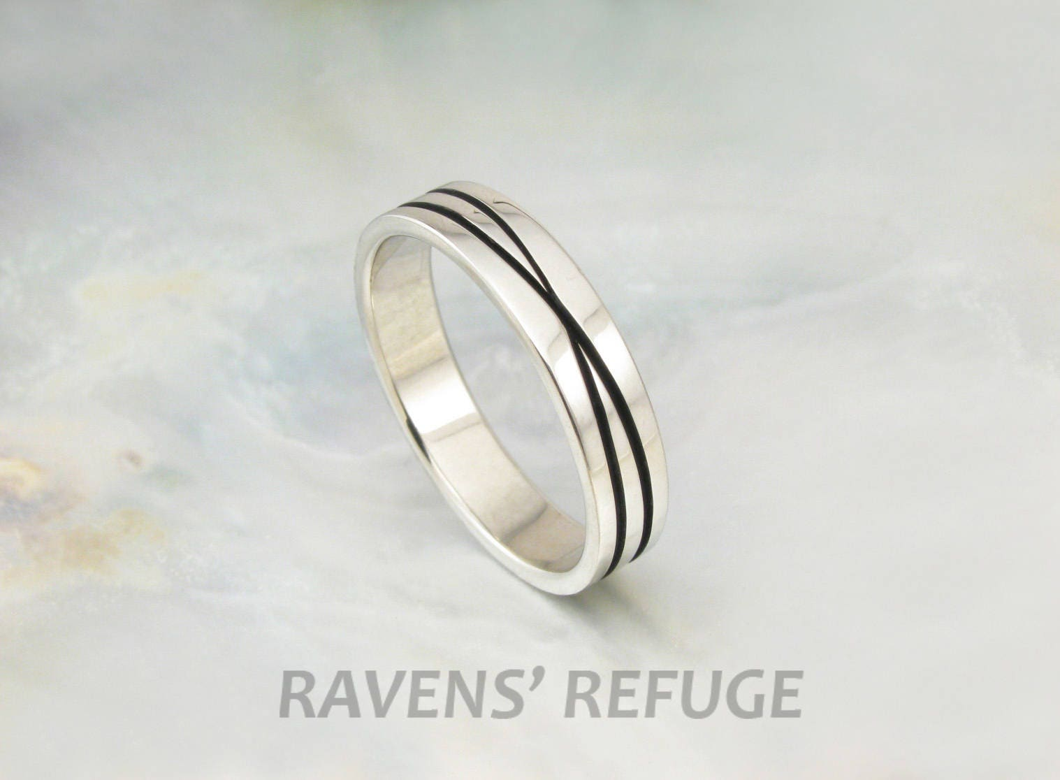 Infinity Ring Recycled White Gold Wedding Band Unique