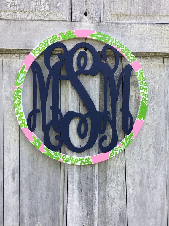 Personalized wood monogram, hand painted monogram, hand painted monogram wall hanger, monogram door hanger, monogram sign