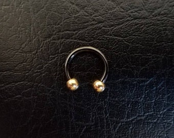 "Black and Rose Gold Small Septum Horseshoe Ring 16g 5/16"" 3/8"" Daith Snug Orbital Helix Tragus Lip Ring 316lvm Steel Christmas gift"