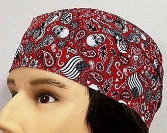 Handmade Skull Cap, Chemo Cap, Skulls, Motorcycle, USA Flag, Bandana, Hats, Head Wrap, Alopecia, Helmet Liner, Do Rag, Hair Loss, Head Wear