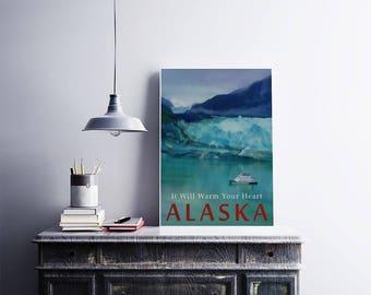 ALASKA Glacier Travel Poster 12x18 Size Vintage Style Art Cruise Ship Ice Winter Art Turquoise Blue