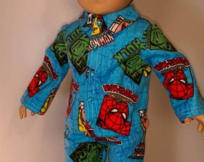 Fun flannel doll pajamas for 18 inch boy or girl dolls fits dolls like american girl