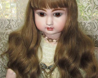 Beautiful doll wig long human hair Jumeau, Rabery, Jullien, Steiner wig Made in France size 16 vintage