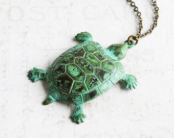 Green Patina Turtle Pendant Necklace on Antiqued Brass Chain (Hand Patina)
