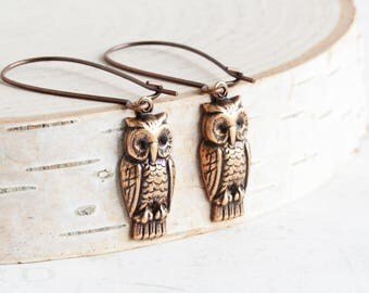 Simple Antiqued Copper Plated Woodland Owl Charm Earrings