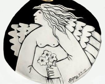 Ceramic Angel Feeder Dish