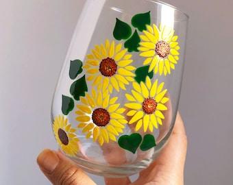 Sunflowers Hand Painted Wine Glass