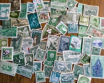 60 Green Used World Postage Stamps for crafting, collage, cards, altered art, scrapbooks, decoupage, history, collecting, philately 4b