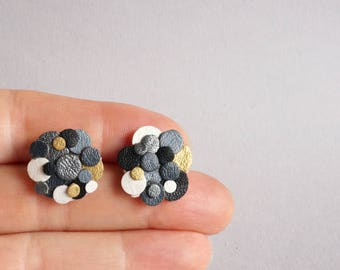 Black and White Confetti Leather Statement Stud Earrings Surgical Stainless Colourful Sustainable Eco Friendly Gift Gifts Japanese