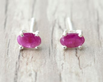 Red Ruby Tiny Stud Earrings, Red Natural Emerald Gemstone Earrings, Minimalist Sterling Silver Unisex Studs, Everyday Earrings for Men