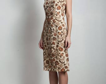 vintage 60s shift dress brown cream floral print sleeveless knee length SMALL MEDIUM S M