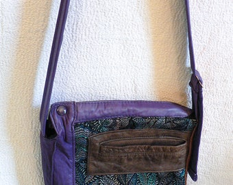 Purple leather bag with adjustable shoulder strap, brown, zipper, tapestry turquoise foliage - eco-responsible, recycled, upcycled