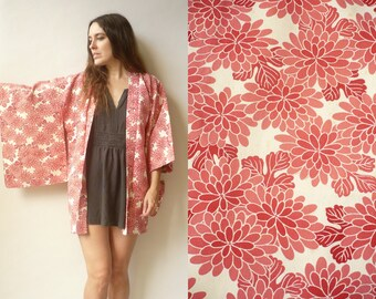 1970's Vintage Japanese Abstract Floral Print Crepe Kimono Duster Jacket Haori