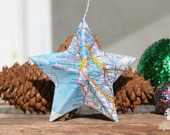 San Francisco, California - Map Covered Star Ornament - CA, Home Decor, West Coast, 3 Dimensional, Christmas, Tree, Map Ornament