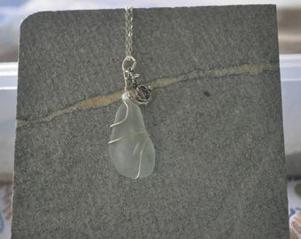 Seaglass necklace with silver anchor charm and pearl accent