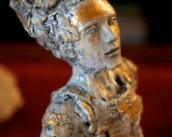 Deity Of Love Sculpture by Fae Factory Artist Dr Franky Dolan (Fantasy Art Fairytale Art Bust Sculpture Love Warrior Original Fine Art)