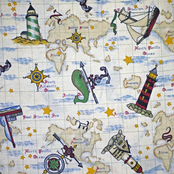 23 yard cotton print tan blue red ocean world map quilting 23 yard cotton print tan blue red ocean world map quilting fabric vip cranston maritime sailing ships lighthouses whales b20 from dartingdogfabric gumiabroncs Gallery