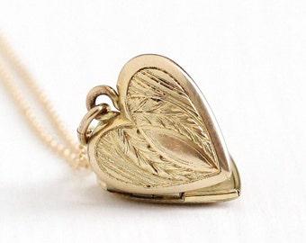 Sale - Vintage 12k Gold Filled Heart Locket Necklace - Late Art Deco Dainty 1940s Sweetheart Pendant Romantic Flower Leaf J.M.F. Co. Jewelry