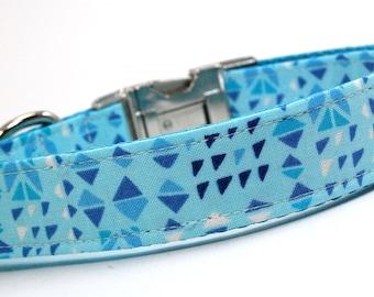 Handmade Dog Collar - Neon Geometry - Neon Pink Dog Collar Custom Made - With navy arrows and triangles - 80s collar