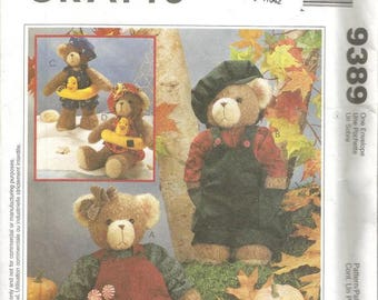 1990s Stuffed Bears with Clothes 13 Inches Tall McCall's 9389 Uncut FF Bear Sewing Pattern Toy Sewing Pattern