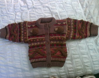 Hedgehogs in the Berry Garden - Wool - Hand knitted - Cardigan