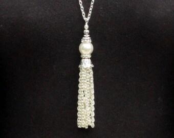 Tassel Necklace Pearl, Silver Tassel Necklace, White Pearl Tassel Necklace, Silver Tassel Pendant, Beaded Tassel, Long Tassel Pendant Women