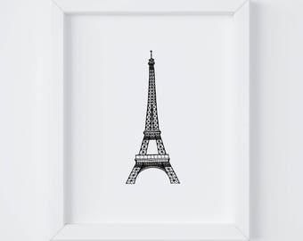 8x10 Eiffel Tower Print | Paris | France | Line Drawing