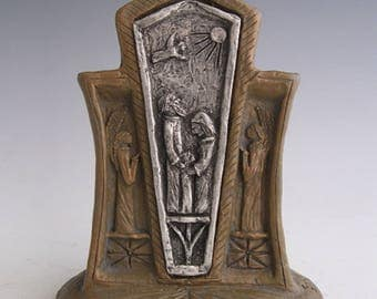 Saints Anne and Joachim: Patrons of Grandparents, Handmade Statue with Scroll