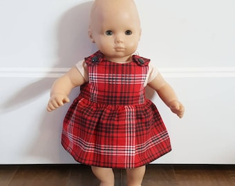 Bitty Baby Clothes -  Bitty Twin Doll Clothes - Bitty Baby Dress - Red Plaid Dress