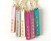Stamped Reversible Bar Necklace, Christmas 2017, Name stamped Colorful Vertical Bar on  Gold chain, Dainty Women's Jewelry, 2 in 1 Necklace