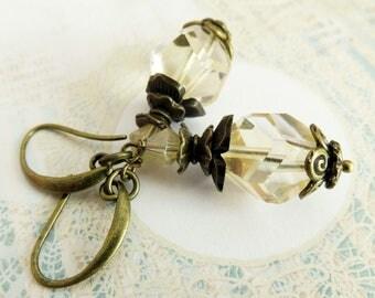 Big topaz earrings, dangle earrings, rustic jewelry, gift for wife, drop earrings, bronze jewelry