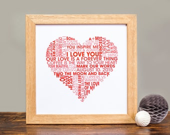 Love Heart Personalised Print - Personalized Love Heart Print - Valentines Print - Typographic Print - Anniversary - Wedding - Xmas gift