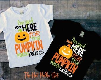Boys Halloween Shirt, I'm Just Here for the Pumpkin Patch Babes Boys Pumpkin Patch Shirt White or Black Short Sleeve Shirt